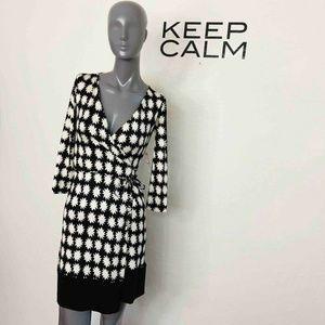 Diane Von Furstenberg Naoki Wrap Dress Black Print